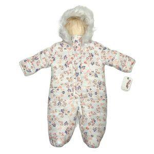 Jessica Simpson Floral Faux Fur Hooded Snowsuit